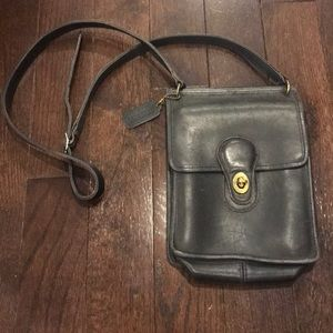 Coach navy leather turn lock cross body bag
